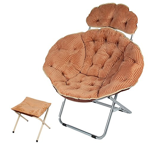 Genubi Saucer Chair, Foldable Indoor Outdoor Moon Chair, Corduroy Cover Portable Seat With Small Stool