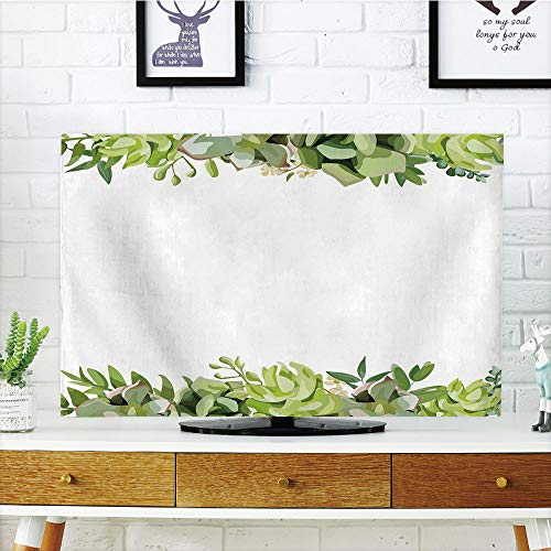 """iPrint LCD TV Cover Lovely,Succulent,Cactus Flower Garden Green Fern Seasonal Branch and Leaves Frame Borders Decorative,Green Light Green,Diversified Design Compatible 47"""" TV"""