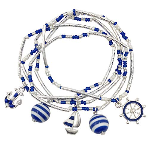 (Gypsy Jewels Multi Color Layered Seed Bead Silver Tone Theme Stretch Bracelet Set (Navy Blue & White Nautical))
