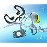 Eplze新しいクール4GB防水IPX8スポーツ防水MP3プレーヤー水泳用/ランニング水中ジョギング/スパ+防水耳フードヘッドセット+イヤホン+腕章 (ブラック)