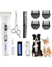 Dog Clippers,Low Noise Pet Clippers with Detachable Blades,Rechargeable Dog Trimmer Pet Grooming Kit with USB Cable,Combs,Brush,Pet Hair Clippers for Dog Cat Small Animal(2 Batteries)
