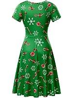 FENSACE Christmas Dress Womens Santa Claus Printed Gifts Xmas Dress