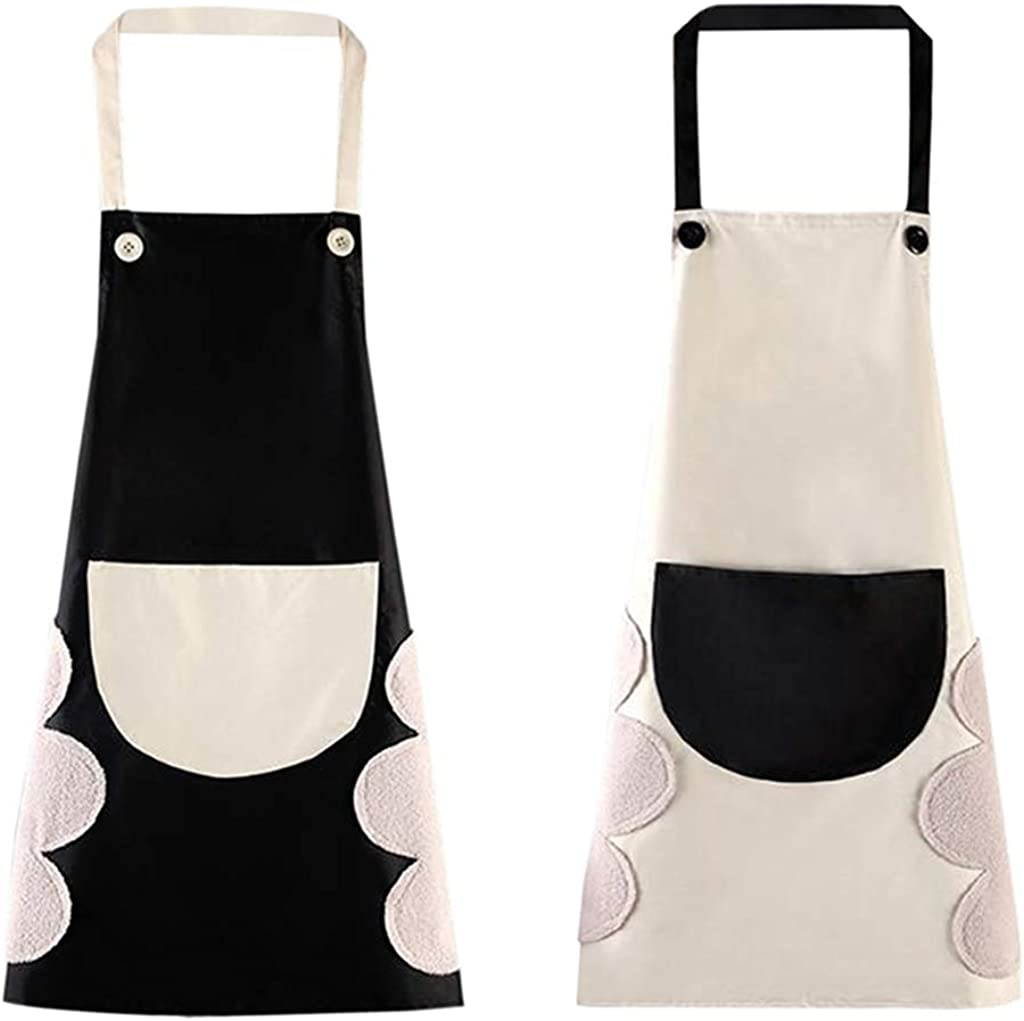 Mangsen 2 Pcs Couple Aprons For Cooking Funny Black & Beige Kitchen Aprons With A Big Pocket for Valentine's Day Anniversary Wedding Engagement Gifts