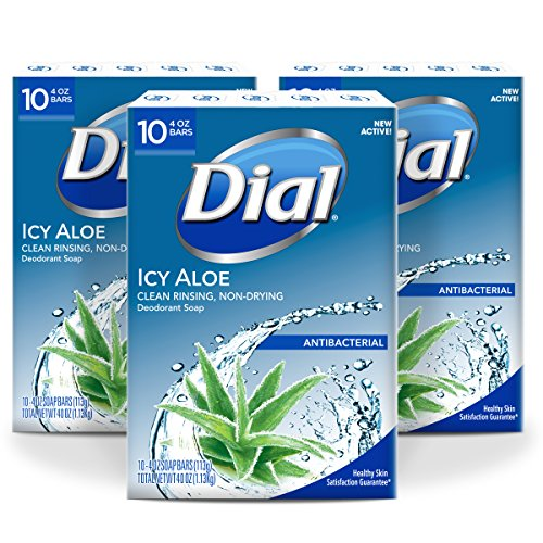 Dial Antibacterial Deodorant Soap, Icy Aloe, 4-Ounce Bars, 30 - Lever Soap Deodorant Bar