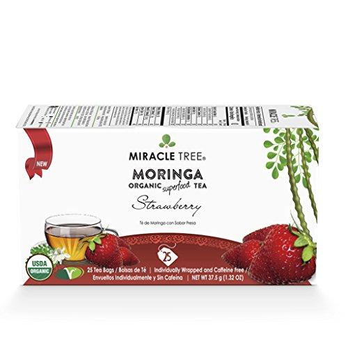 Miracle Tree - Organic Moringa Superfood Tea, 25 Individually Sealed Tea Bags, (Tea Strawberry Tea)