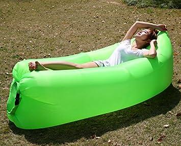 Fluorescente Verde portátil hinchable tumbona silla de compresión de aire saco de dormir sofá sofá,