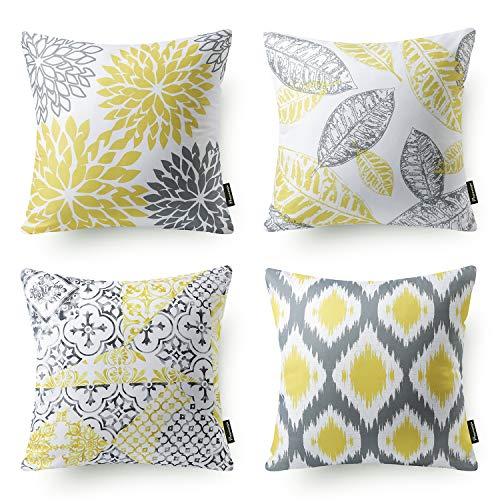Decorative Cushion Design - Phantoscope Set of 4 New Living Series Decorative Yellow and Grey Throw Pillow Case Cushion Cover Double Side Design 18