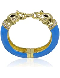 Women's Austrian Crystal Blue Enamel Couple Elephant Animal Bracelet Clear Gold-Tone