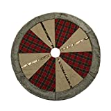 "Valery Madelyn 48"" Trendy Red and Black Tartan Christmas Tree Skirt"