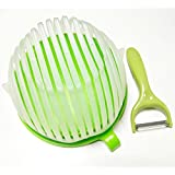 FreeLife Salad Cutter Bowl + Bonus Handy Peeler – Fast Fresh Family-Size Slice & Dice in 60 Seconds, Cut Fruits Vegetables with Ease – Complete Serving Helper Gift Set Strainer Chopper Cutting Board