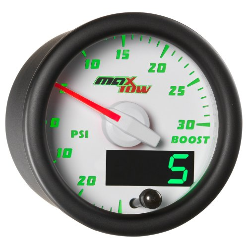 MaxTow Double Vision 30 PSI Turbo Boost/Vacuum Gauge Kit - Includes Electronic Pressure Sensor - White Gauge Face - Green LED Dial - Analog & Digital Readouts - For Gas Trucks - 2-1/16 52mm