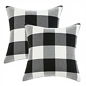 Anickal Set of 2 Farmhouse Decorative Throw Pillow Covers Buffalo Check Pillow Covers 18 x 18 for Farmhouse Decor