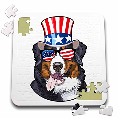 3dRose Patriotic American Dogs - Burmese Mountain Dog With American Flag Sunglasses and Top hat - 10x10 Inch Puzzle (pzl_282711_2) ()
