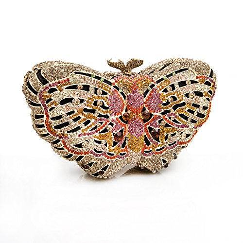 Pink Gold LuxMob Crystal Butterfly Clutch wfwxFq