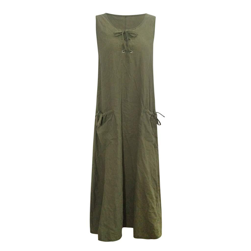 Clearance! Womens Plus Size Maxi Dress Casual Loose Bandage Sleeveless Retro Long Dress Pocket S-3XL (Army Green, 4X-Large)