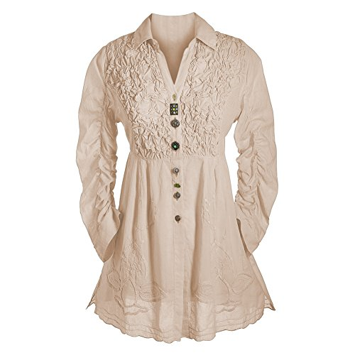 Parsley & Sage Women's Tunic Top - Button Down 3/4 Sleeve Collared Blouse - Beige - (Cheap Victorian Clothing)