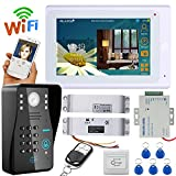 MOUNTAINONE 7'' TFT Wired / Wireless Wifi RFID Password Video Door Phone Doorbell Intercom System with Electric Drop Bolt Lock + IR-CUT HD1000TVL Camera