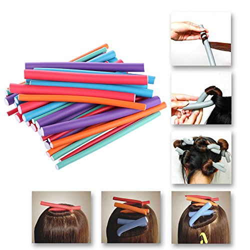 Flexible Curling Rods, 20 Pack Colorful Soft Rubber Twist-Flex Hair Curler Roller Set, 9 Inch Length, No pins No Clips No heat No Chemicals, Great for Create Beautiful Bouncy Curls