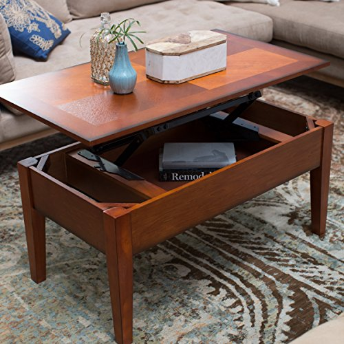 Rectangle Lift Top (Lift Top Coffee Table for Drinks Snacks Books Magazines Pens and Games Interior Storage is Rectangle Space Saver Compartment Oak plus FREE)