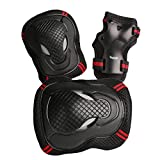 Rockrok Protective Gear Set Knee Elbow Pads with Wirst Wraps for Inline Roller Skateboarding BMX Cycling Skating Riding Scooters (Unisex Outdoor Safety Product 6 Pieces)