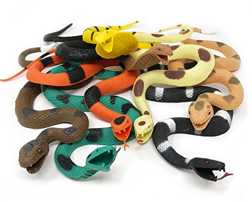 "Boley Giant Rubber Snakes 18"" Long Jungle, Rainforest and Tropical Snakes, including Rattlesnakes, Pythons Cobras - 8 pack"