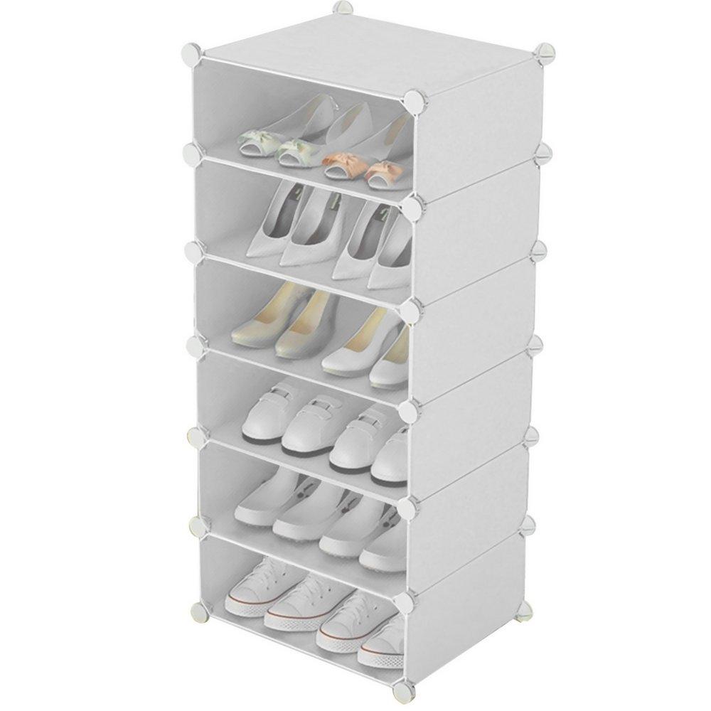 Inxact scarpiera salvaspazio DIY 3 –  6 ripiani, bianco, White, 2x2-tier