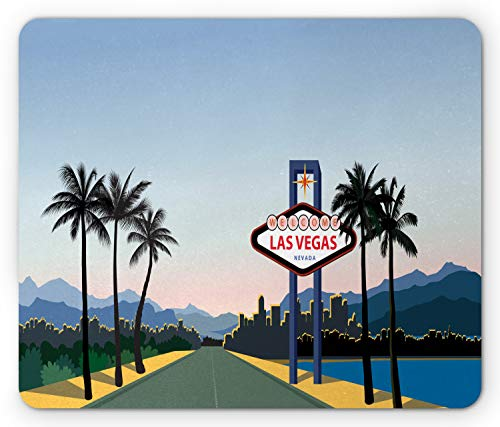 Ambesonne Las Vegas Mouse Pad, Silhouette of The City with a Welcome Sign Nevada State America in Cartoon Design, Standard Size Rectangle Non-Slip Rubber Mousepad, Multicolor Art Silhouette Welcome Sign
