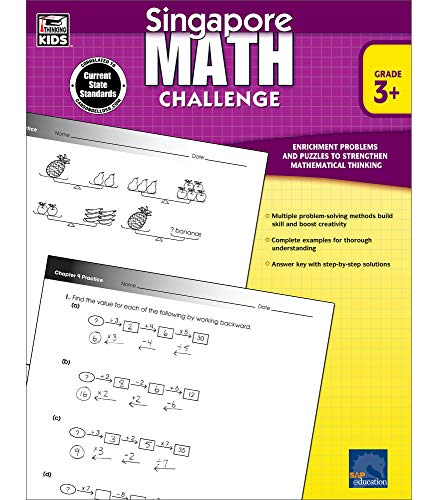 Singapore Math Challenge Workbook—Grades 3-5 Math Book, Tricks for Adding, Subtracting, Multiplying, Dividing Numbers, Using Patterns, Working Backward (352 pgs)