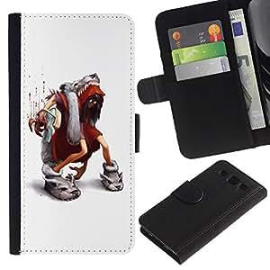 KingStore / Leather Etui en cuir / Samsung Galaxy S3 III I9300 / Dibujos animados de blanco minimalista