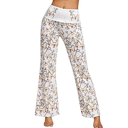 Todaies Womens Wide Leg Lounge Pants,Comfy Stretch Floral Print Drawstring Palazzo Pants (M, White)