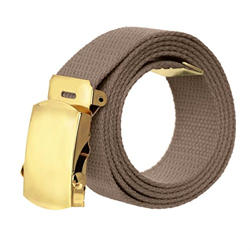 [Canvas Military Style Belt with Gold Buckle – Charcoal] (Designer Style Belt Buckle)