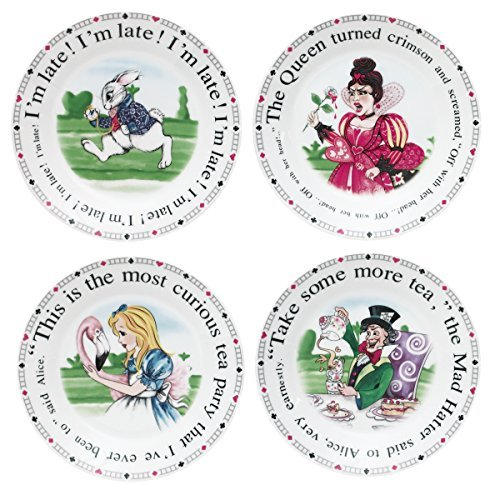 Cardew Design Alice in Wonderland Porcelain Dessert Plates, 7.5-Inch, Set of 4 by Cardew