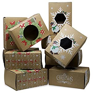 Christmas Treat Boxes - Bulk Set of 12 - Perfect for Cookies, Doughnuts, Candy, Holiday Party Favors and Gifts - Large Vintage Kraft Hot Stamp Design with Clear Window