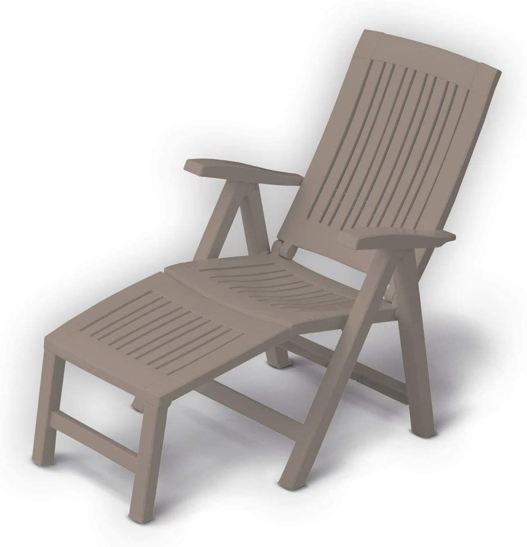 Dima - Sillón de relax plegable con reposapiés, respaldo ajustable de resina, color pardo, para jardín o terraza: Amazon.es: Hogar