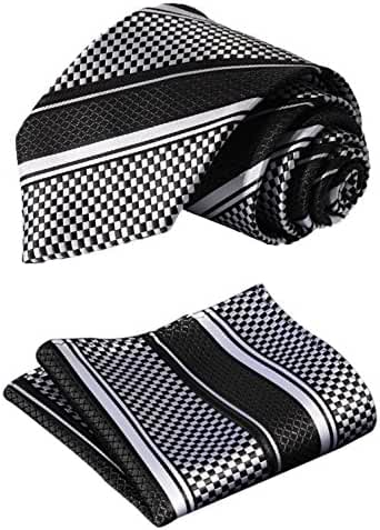 SetSense Men's Stripe Jacquard Woven Tie Necktie Set