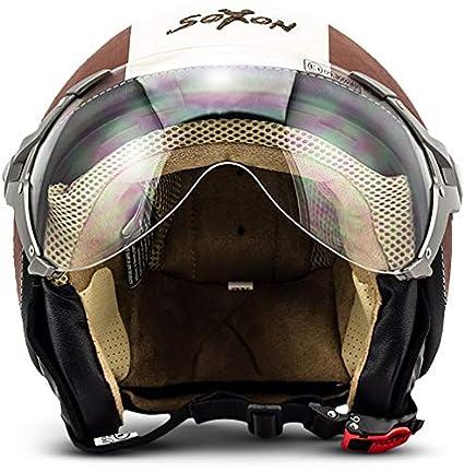 61- SOXON SP-325 Imola /· Mofa Vintage Demi-Jet Chopper Casque Jet Scooter Cruiser Biker Pilot Helmet Bobber Retro Vespa Moto /· ECE certifi/és /· visi/ère inclus /· y compris le sac de casque /· Beige /· XL
