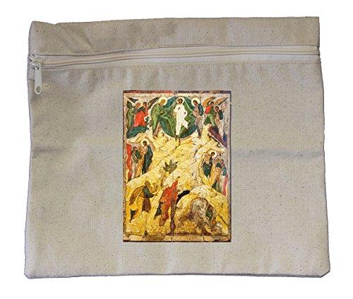 Canvas Zipper Pouch 10 X12  Russian Orthodox Icon Transfiguration Style In Print