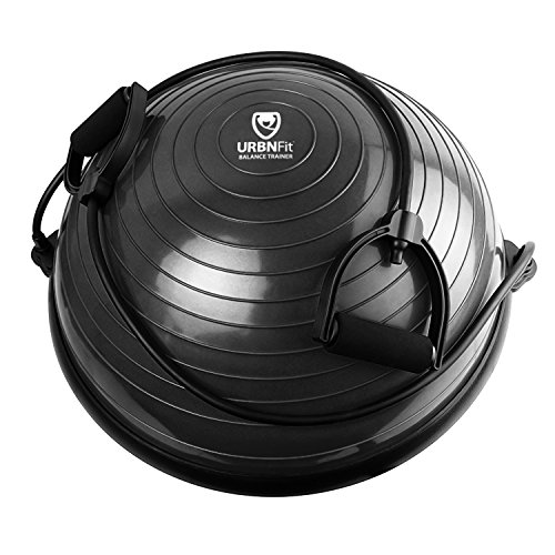 URBNFit Balance Trainer - Half Ball - Perfect for Home Gyms (Black With Bands)