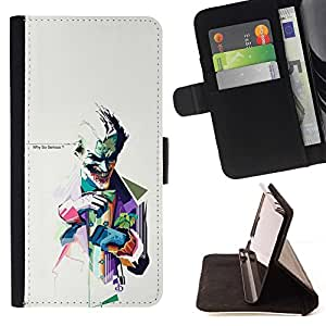 For Samsung Galaxy S6 WHY SO SERIOUS ? JOKER Style PU Leather Case Wallet Flip Stand Flap Closure Cover