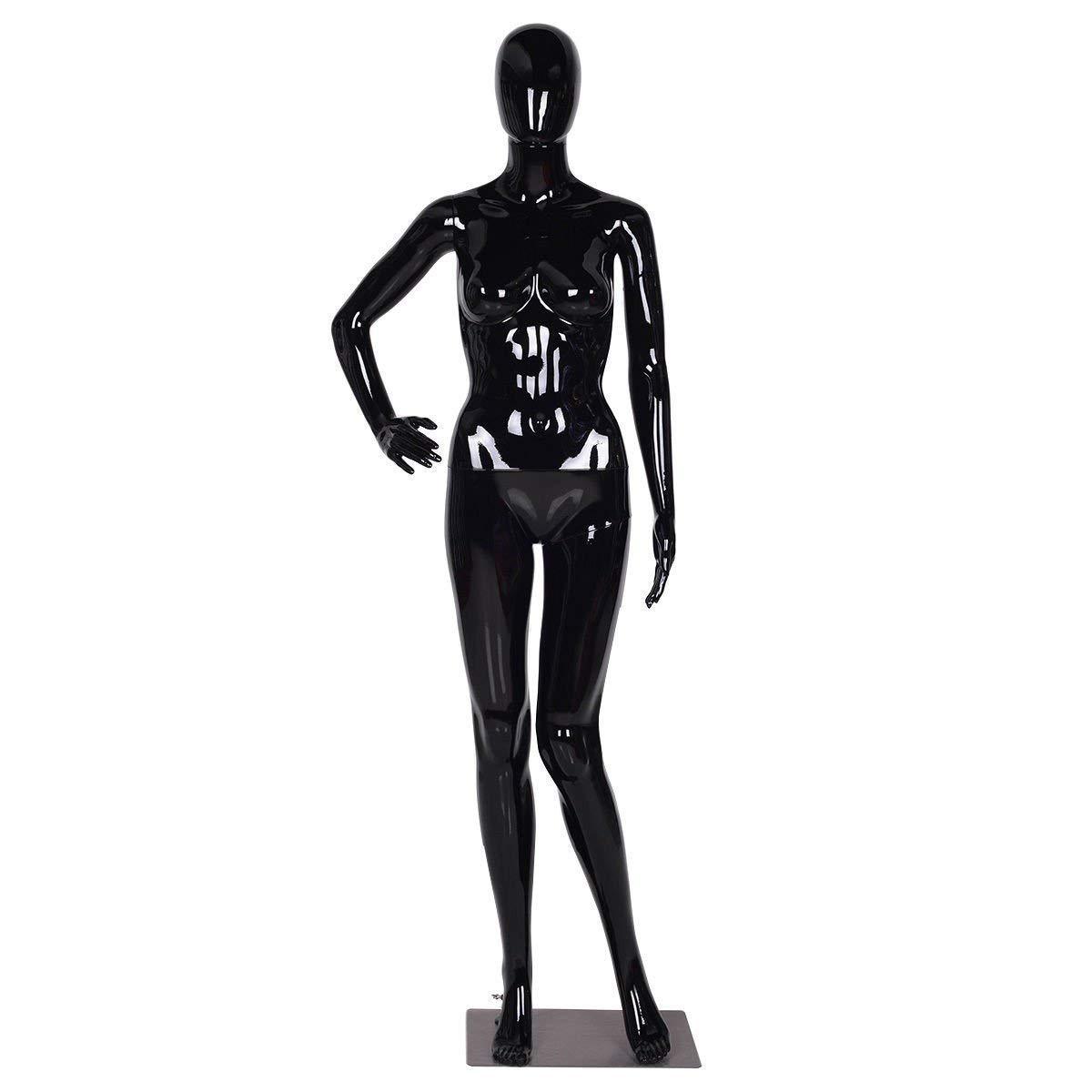 Female Mannequin Full Body Dress Form Display Plastic Egghead High Gloss Black