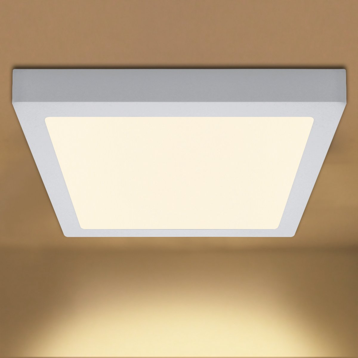 24W Square LED Ceiling Light Flush Mount Panel Soft Warm White 3500k Driver Included [Energy Class A+] Long Life Lamp Company