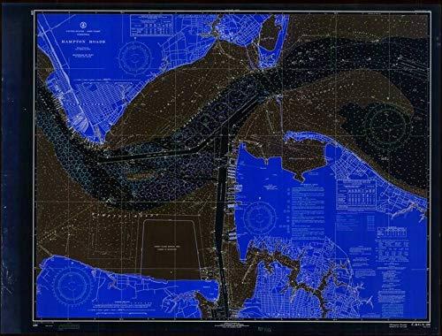 Vintography Blueprint Style 8 x 12 Reprint of 1970 Nautical Chart Hampton Roads by NOAA-NOS VA