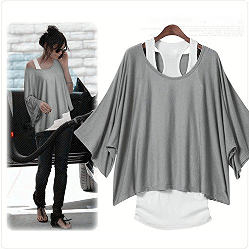 Damen T-Shirt 2in1 Shirt Bluse Oberteil Tunika mit Weste Fledermaus L