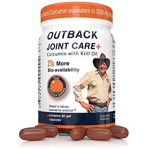 Outback Joint Care+ Supplement | Bioavailable Curcumin with Krill Oil for 27x Better Absorption, Equivalent to 3000mg Dry Turmeric Supplements, No Black Pepper Needed, 60 Gel Capsules