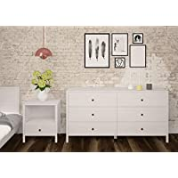 Tvilum 70369df Seattle 1 Drawer Nightstand, White Wash Wood Grain