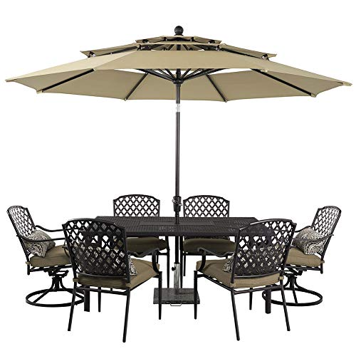 PHI VILLA 10ft Patio Umbrella Outdoor 3 Tier Vented Table Umbrella with 8 Sturdy Ribs Beige