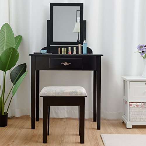 Giantex Vanity Dressing Table Stool Set, for Bedroom Vanities Furniture with Large 360° Rotating Makeup Mirror Solid Wood Legs Padded Linen Fabric Bench, Vanity Tables with Drawers, Black(1 Drawer)