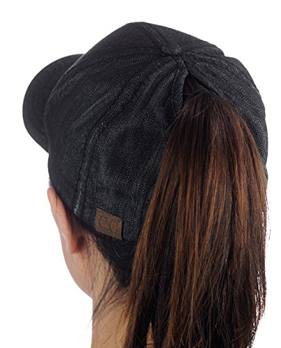 C.C Ponycap Messy High Bun Ponytail Adjustable Cotton Baseball Cap Hat, Black Denim