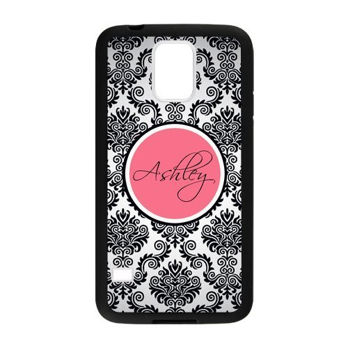 Personalized Monogram Damask Pattern Vs Rose Initials Unique Custom Samsung Galaxy S5 Best Durable Rubber+Plastic Cover Case Custom Color and Text,New Fashion, Best Gift (Vs Pink Galaxy S3 Phone Case)