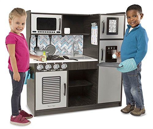 "Melissa & Doug Wooden Chef's Pretend Play Toy Kitchen With ""Ice"" Cube Dispenser – Charcoal"
